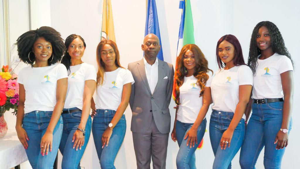 Las candidatas de Miss Africa Beauty European Union en Bruselas